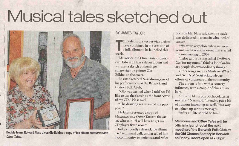 Newspaper Article for Memories and Other Tales - With Glo Edkins.